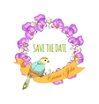 save date hand drawn floral wreath with ribbon vector image vector image