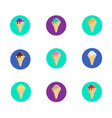 set of ice cream cones icons vector image