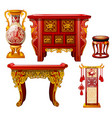 set ornate furniture in oriental style isolated vector image vector image