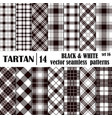 Set tartan seamless pattern in black and white vector image vector image