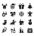 silhouette christmas icons set vector image