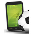 sport ground on smartphone with soccer ball vector image