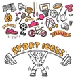 Sport icons doodle sketch vector image vector image