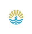 summer surfboard surf wave ocean sun birds logo vector image vector image