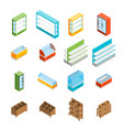supermarket elements 3d icons set isometric view vector image vector image