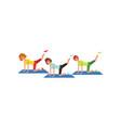 three women doing leg swings workout cartoon vector image vector image