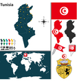 Tunisia map world vector image vector image