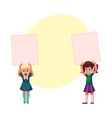 two little girls child kid holding blank empty vector image vector image