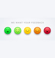 user experience feedback with smiley emoticons vector image vector image