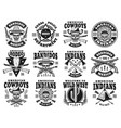 wild west set of emblems labels badges vector image vector image