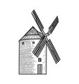 wind mill windmill hand drawn sketch engraved vector image