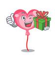 with gift ballon heart mascot cartoon vector image