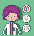 woman doctor with first aid icons vector image