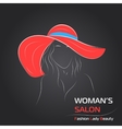 Woman in red hat on black bg vector image vector image