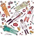 Set isolated medical objects and doctors vector image
