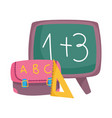 back to school blackboard backpack and triangle vector image