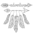 Boho chic ethnic dream Arrow with feathers vector image vector image