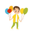boy with balloons going to party birthday party vector image vector image