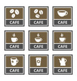 cafe icons and signs coffee shop design vector image vector image