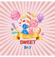 candy sweet day confectionery retro background vector image