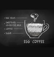 chalk sketch coffee with egg yolks recipe vector image vector image