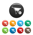 construction wheelbarrow icons set color vector image vector image