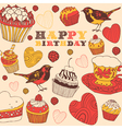 Cupcakes Birthday Card vector image vector image