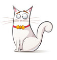 cute funny cat with bow vector image