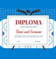 diploma ice hockey tournament winner template vector image