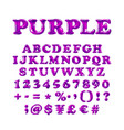 english alphabet and numerals from purple violet vector image vector image