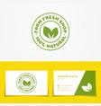farm fresh shop logo set with two green leaves vector image vector image