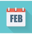 February Dates Flat Icon with Long Shadow vector image