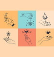 female hands hand drawn minimal hand gestures vector image