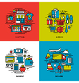 Flat line icons of shopping goods payment delivery vector image vector image