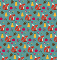 fox apples and pears pattern vector image vector image