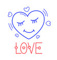 hand draw love heart icon in doodle style vector image vector image