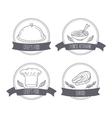 Hand drawn food labels for menu or cafe design vector image