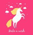 hand drawn unicorn unique art fairytale unicorn vector image vector image