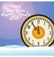 happy new year 2017 greeting card big clock snow vector image