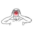 headache line art icon stress and migraine vector image