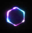 hexagon background with neon lights on transparent vector image
