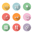 home stuff icon set color with shadow vector image