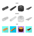isolated object of tree and raw icon collection vector image vector image