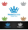 king real estate and fix home repair services logo vector image vector image