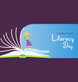 literacy day banner girl turning open book pages vector image