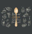 menu with spoon and sketches different dishes vector image vector image