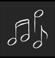 musical chalk white icon on black background vector image