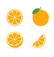 orange flat slice icon fruit vector image vector image
