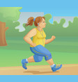 overweight girl is jogging vector image vector image