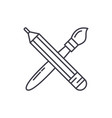 pencil and paint brush line icon concept pencil vector image vector image